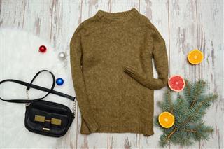 Wool Sweater With Handbag