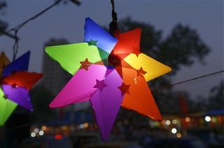 Traditional Lanterns On Street