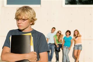 Group Of Bulllies Bullying Sad Student