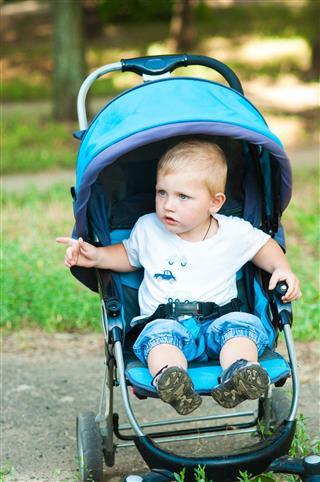 Little Boy In A Stroller