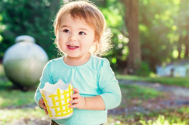 Happy Toddler Girl Smiling Outside
