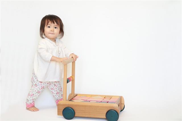 Baby Girl Pushing A Cart