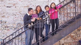 Young Hispanic family