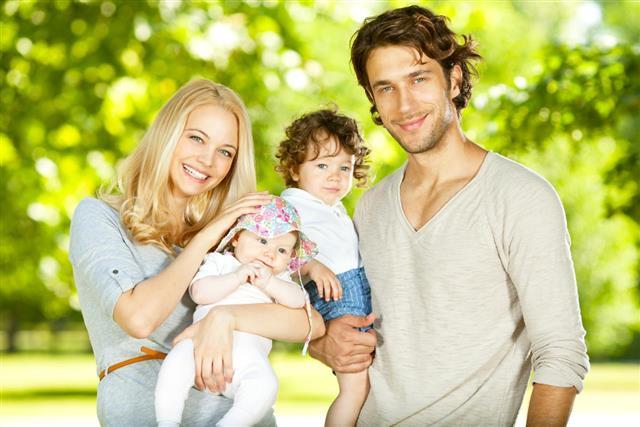 Happy parent with their children