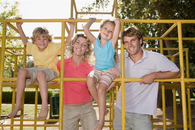 Family on climbing frame