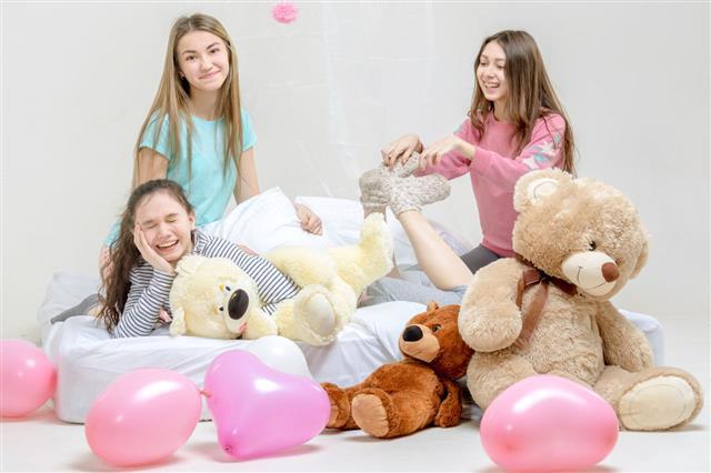 Three Girls At Slumber Party