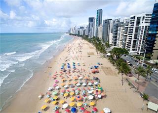 Aerial View Of Boa Viagem Beach Recife Brazil