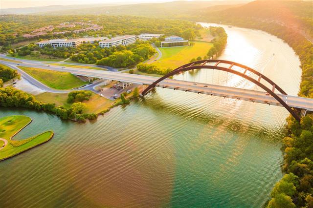 Colorado River Austin Texas Aerial Panorama