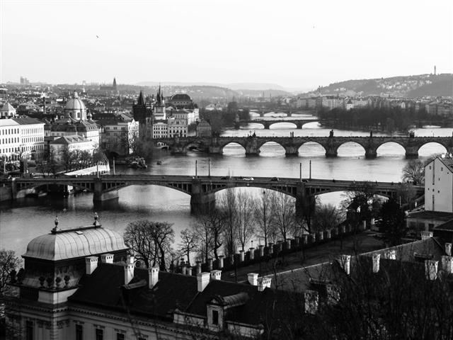Prague Bridges At Sunset Time