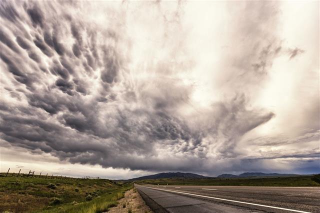 Dark Summer Rain Storm Mammatus Clouds