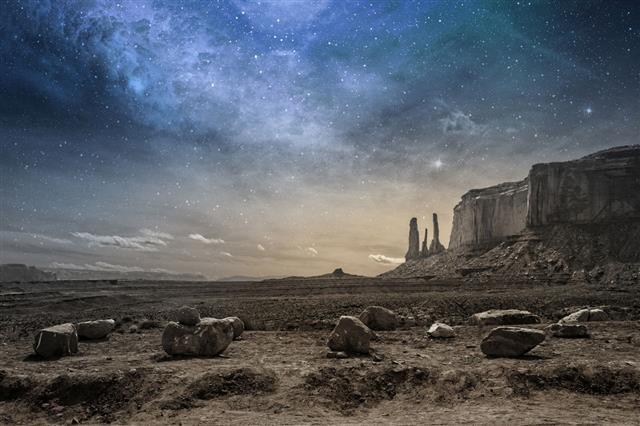 Rocky Desert Landscape At Dusk