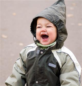 Shouting Baby In Green Hood