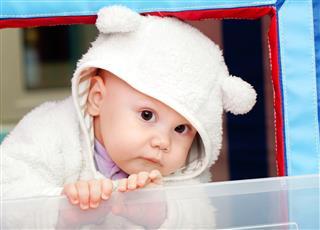 Little Baby In White Bear Costume