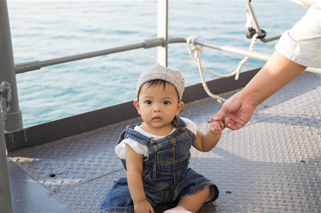 Baby Girl In Sea
