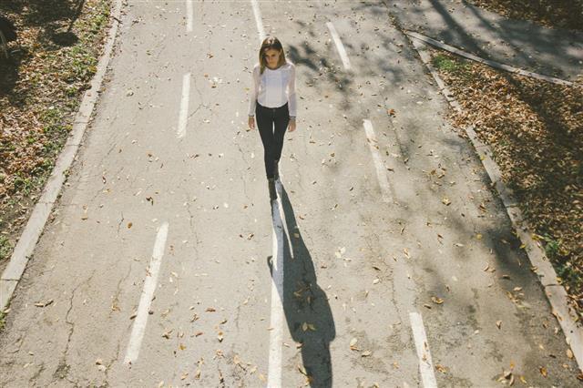 Cute Lonely Girl Walking
