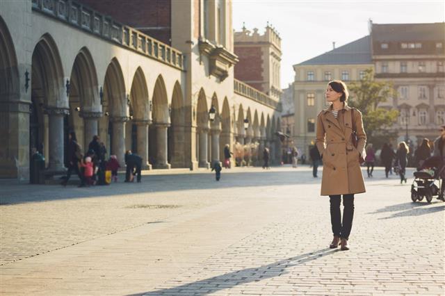 Woman Walking On Main Market