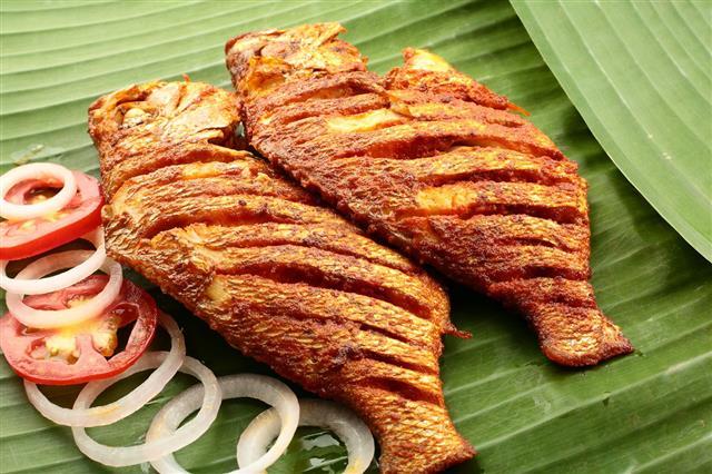 Fish Fry Served On Banana Leaf