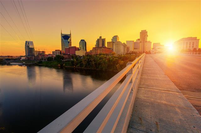 Nashville At Sunset