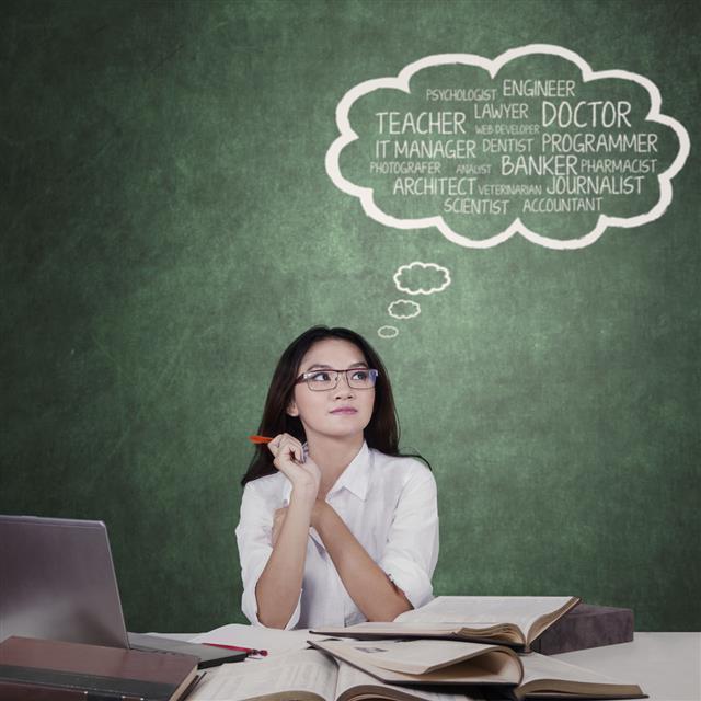 Teenage Schoolgirl Thinking Dream Jobs