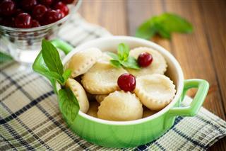 Cherry Dumplings With Mint