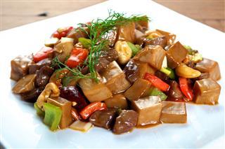 Chinese Mushroom Beef Dish