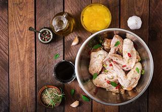 Raw Marinated Chicken Wings