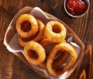Basket Of Onion Rings Shot