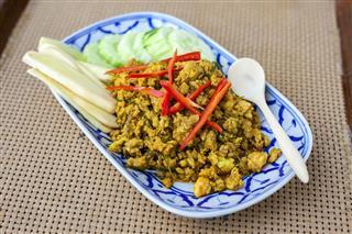 Fried Pork Spicy Thai Food