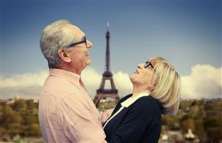 Happy Senior Couple In Paris