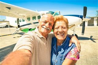 Senior Happy Couple Taking Selfie