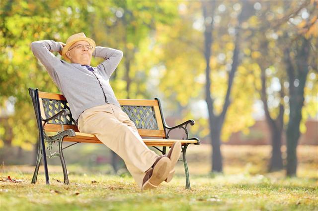 Senior Gentleman Sitting On Bench