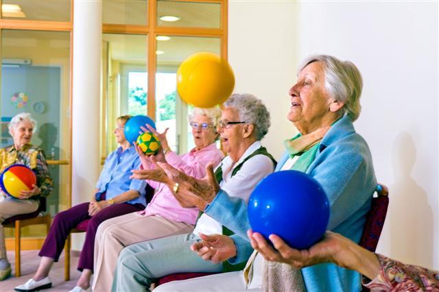 Senior Ladies Doing Coordination Exercises