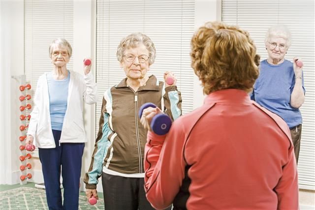Elderly Women In Exercise Class