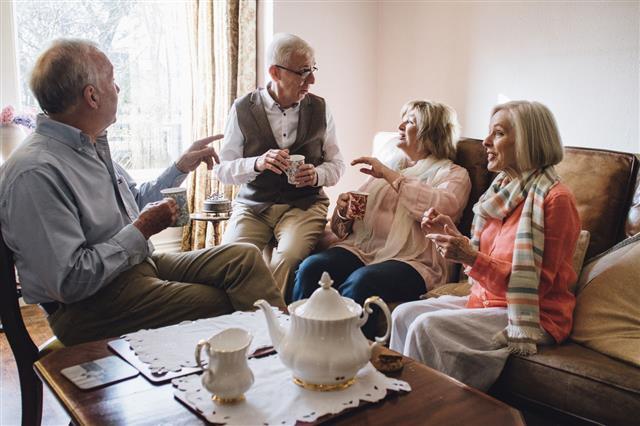 Senior Adults Having Tea