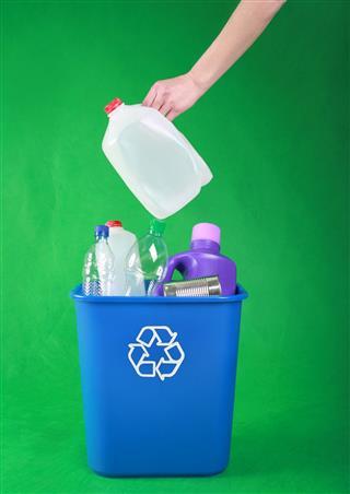 Plastic Bottles In Recycle Bin