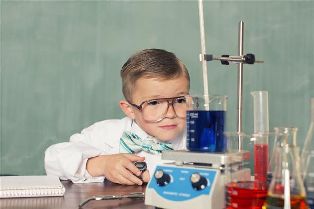 Little Boy Doing Experiment