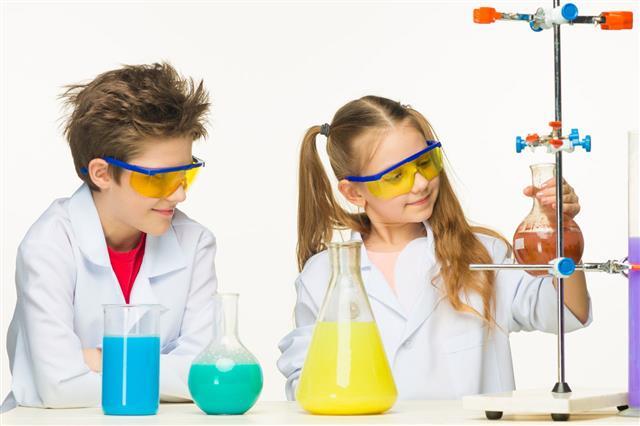 Cute Children Making Experiment