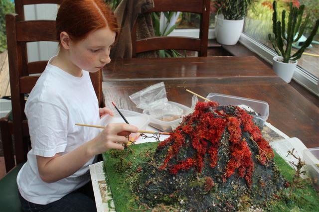 Girl Painting Model Volcano