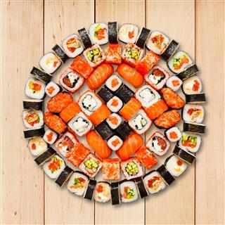 Set Of Sushi Maki And Rolls
