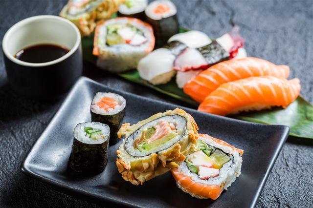 Fresh Sushi On Ceramic Dish