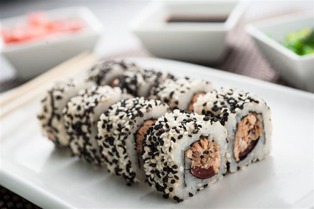 Uramaki Sushi Fudjisan Maki On Dish