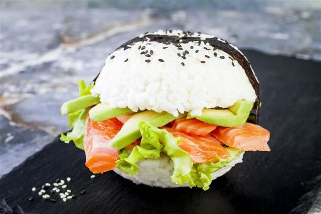 Sushi Salmon Burger