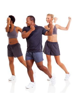 Group Of People Doing Aerobics