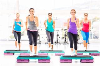 Fitness Class Doing Aerobics