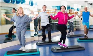 People do aerobics and gym