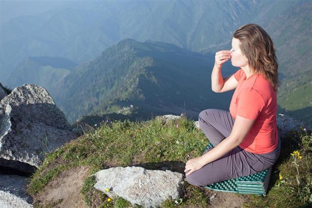 doing breathing yoga