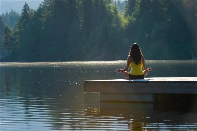 Tranquil Lakeside meditation at sunrise