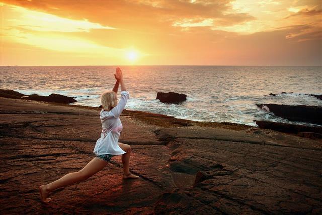 Exercising near beach