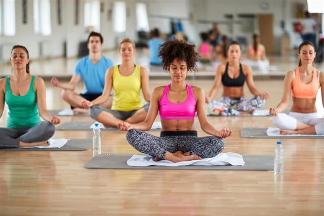 Yoga meditation group