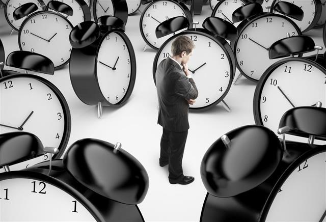 Man and clocks